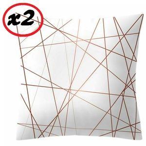 16x16 Set of 2 Pink Slash Throw Pillow Protectors